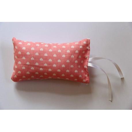 Coussin au catnip - moyen - rose pastel coeurs blancs