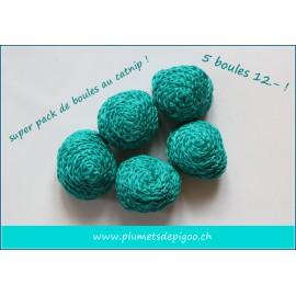 Pack de boules au catnip turquoise